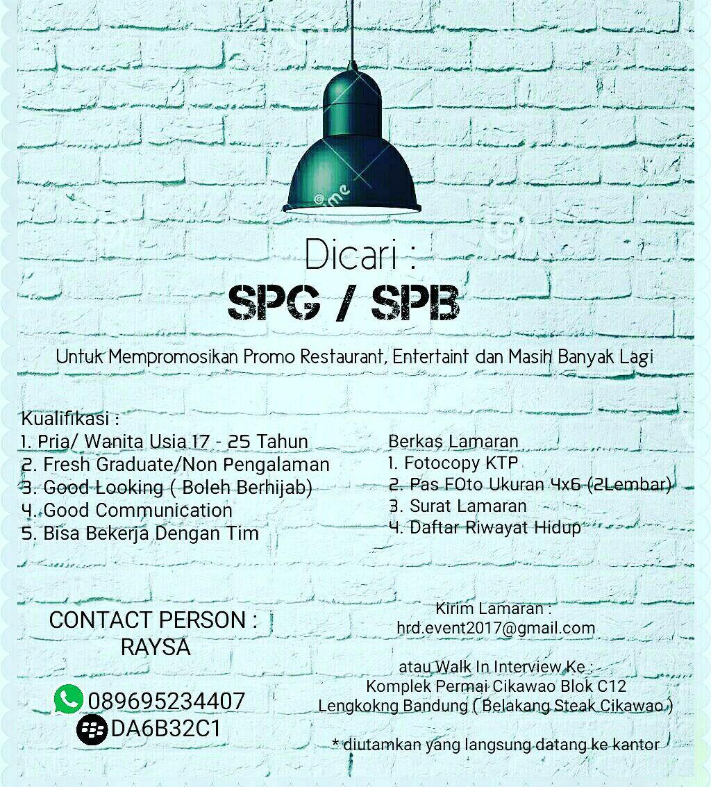 Lowongan Kerja SPG & SPB Bandung Agustus 2017