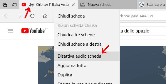 Microsoft Edge disattivare audio scheda internet