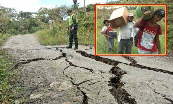 ( FOTOS ) falla geológica amenaza con desaparecer del mapa al municipio de San Eduardo en Boyacá colombia.