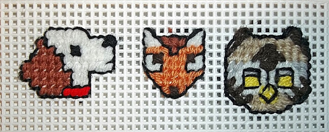 spaniel, fox, and owl on plastic canvas