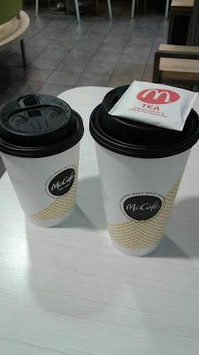 McDonald's Medium Americano and Large Hot Tea