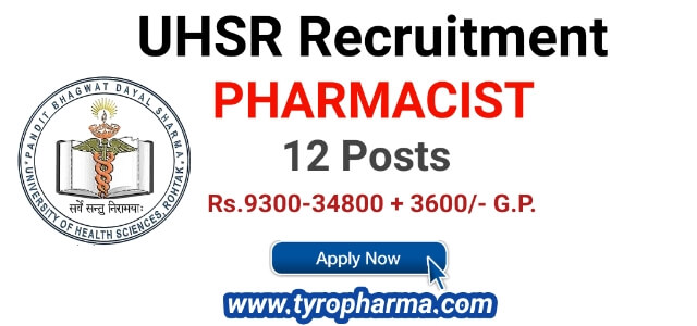 Recruitment for Pharmacist in UHSR (12 posts) - Government Job