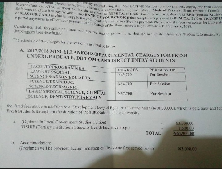 oau freshers to resume on the 3rd of april 2018 see acceptance fee