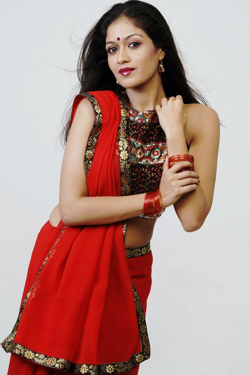 Meghana raj red hot saree