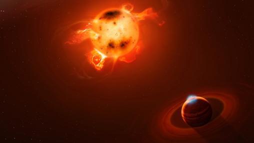 Recreación de un planeta gigante recién nacido como el hallado cerca de la estrella V830 Tau.