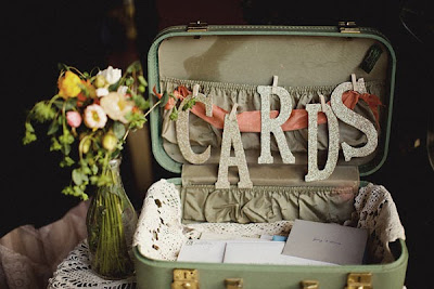 vintage suitcase for wedding reception