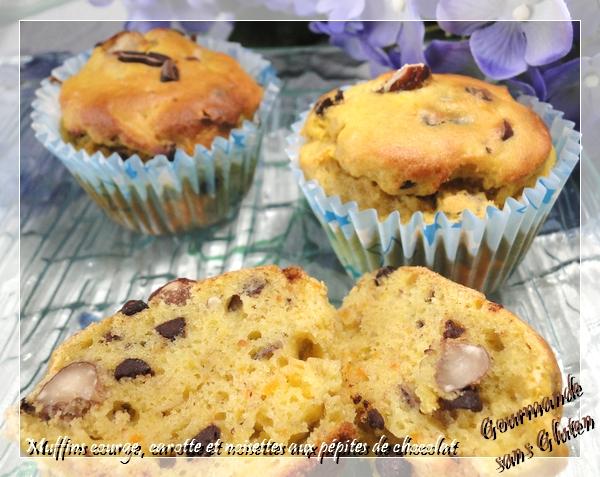 Muffins courge, carotte et noisette aux pépites de chocolat