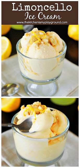 Easy Limoncello Lemon Ice Cream ~ 3 simple ingredients deliver up incredibly delicious lemony flavor!  {and no machine needed} #icecream #Limoncello #easyicecream #nochurnicecream  www.thekitchenismyplayground.com