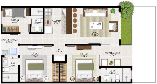 planos de casas de 90m