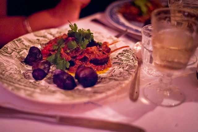 aubergine, butternut squash, tomato, blood orange in chipotle and chocolate, purple potatoes, chocolate supper club, msmarmitelover