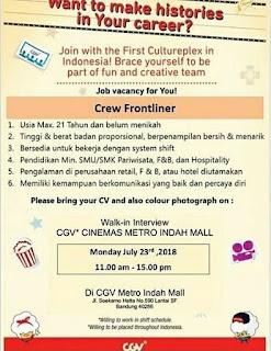 Lowongan Kerja CGV Blitz Cinemas Bandung Terbaru 2019