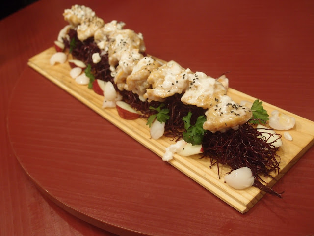 Crisp Prawns and Purple Sweet Potato Shoestring Fries with Lychee & Apple Mayo