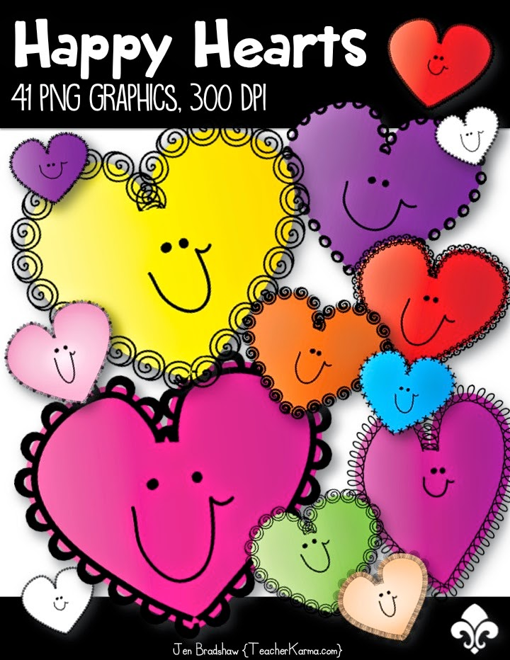 FREE!  Happy Hearts Clip Art ~ TeacherKarma.com
