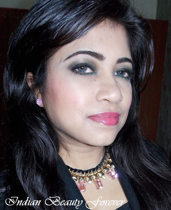 Emerald Smokey eyes with soft pink glossy lips tutorial indian