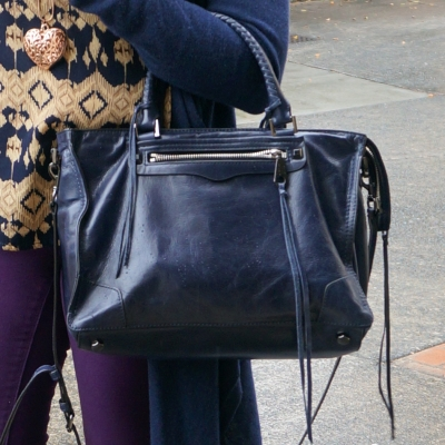 purple skinny jeans, Rebecca Minkoff Regan Satchel Tote in moon | away from the blue
