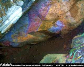 A painted rock cave at Gallengolla Viharaya, Kandy
