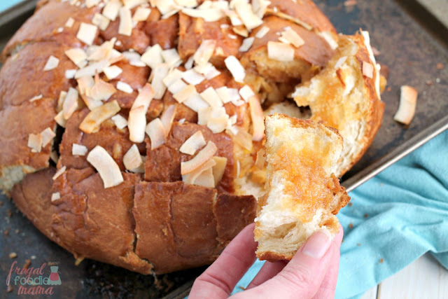 If you are looking for a sweet tropical treat that will feed a crowd, you can't wrong with this easy to make Pina Colada Pull-Apart Bread.