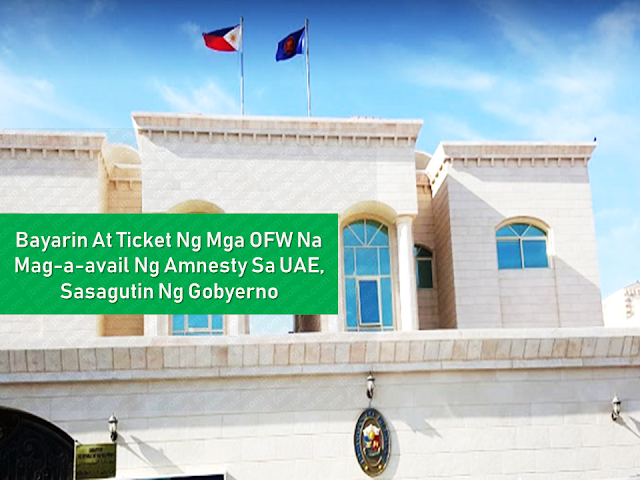 "Filed under the category of  embassies, consulates,  Philippines, OFW, overseas Filipino workers, United Arab Emirates,  illegal residency status, amnesty, expatriates, Philippine Embassy, assistance  The embassies and consulates of the Philippines all over the world are always there to extend every possible help to the overseas Filipino workers (OFW) in any situation they might be.  The United Arab Emirates (UAE) government is set to give amnesty to the expatriates residing in their country with illegal residency status giving them a chance to leave the country or correct their residence status and stay working. The Philippine Embassy and consulate in the UAE are ready to give assistance to its nationals in availing the amnesty offered by the Emirates.  Advertisement        Sponsored Links       The Philippine Government has announced that they will shoulder the required fees, as well as the one-way plane ticket for OFWs who are planning to take advantage of the Amnesty period granted by the UAE from August 1 to October 31.       The said announcement was coursed through the Philippine Embassy and the Philippine Consulate.    In a post from the Facebook page of the Philippine Embassy in the UAE, the financial assistance will only be provided for those who will be going home: ""Assistance will cover for payment of exit passes, fees for absconding lifting, and airfare to the Philippines.""      A post from Consul General Paul Raymund Cortes wishes to clarify that only those with Overstaying and Absconding cases will be assisted for repatriation: ""(The amnesty) does not cover those with police cases. (bank loans, baby cases, etc.)"".    OFWs who will choose to have their status rectified to stay within the UAE will have to head directly to the assigned immigration centers with their passports in tow.      OFWs seeking to be assisted to return home may proceed to the following places:    Abu Dhabi, Al Ain, and Western Regions: Philippine Embassy in Abu Dhabi  Email: atn.abudhabi@gmail.com    Dubai and the Northern Emirates: Philippine Consulate in Dubai  Email: amnesty@pcgdubai.ae       Filed under the category of  embassies, consulates,  Philippines, OFW, overseas Filipino workers, United Arab Emirates,  illegal residency status, amnesty, expatriates, Philippine Embassy, assistance    READ MORE:  Find Out Which Country Has The Fastest Internet Speed Using This Interactive Map     Find Out Which Is The Best Broadband Connection In The Philippines   Best Free Video Calling/Messaging Apps Of 2018    Modern Immigration Electronic Gates Now At NAIA    ASEAN Promotes People Mobility Across The Region    You Too Can Earn As Much As P131K From SSS Flexi Fund Investment    Survey: 8 Out of 10 OFWS Are Not Saving Their Money For Retirement    Can A Virgin Birth Be Possible At This Millennial Age?    Dubai OFW Lost His Dreams To A Scammer    Support And Protection Of The OFWs, Still PRRD's Priority"