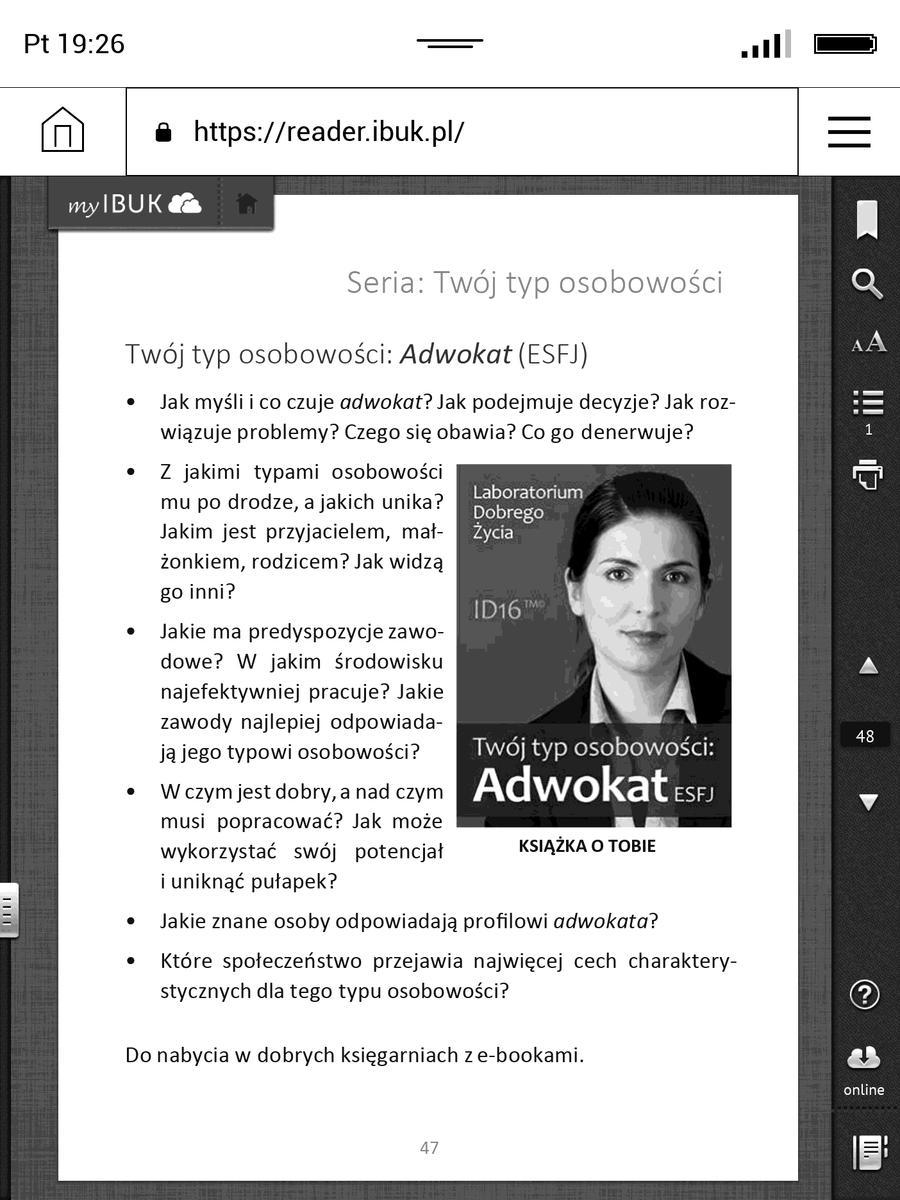 Ksiązka z ibuk.pl w trybie dopasowania do szerokości