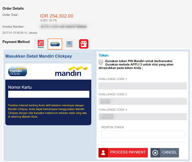 Pembayaran Menggunakan Mandiri Clickpay