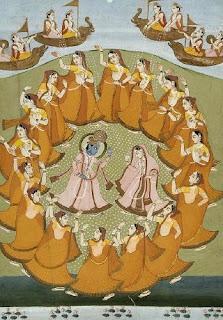 Krishna and Radha dancing the Rasa-lila with the gopis. Jaipur, 19th century watercolour.