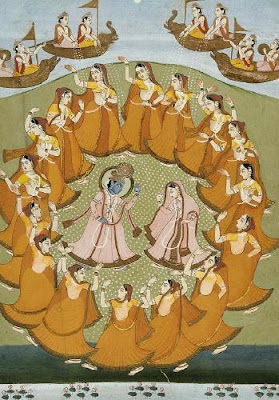 Krishna and Radha dancing the Rasa-lila with the gopis. Jaipur, 19th century watercolour.