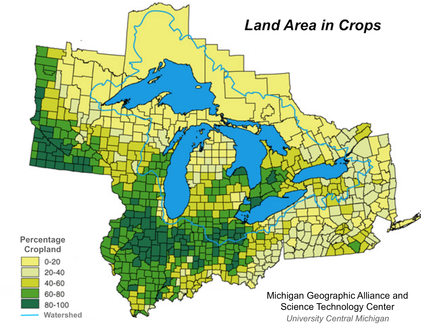 an official department of agriculture map shows that the percentage of area used for crop production is low in the areas of the nephite lands around the