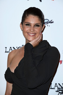 Gemma Arterton makes cute faces at the Lancome show during Paris Fashion Week