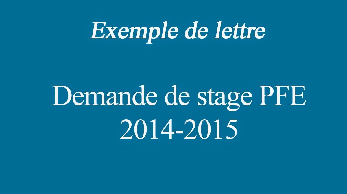 Exemple Lettre De Demande De Stage Pfe