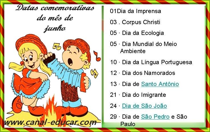 Www.canal-educar.net: DATAS COMEMORATIVAS DO MÊS DE JUNHO