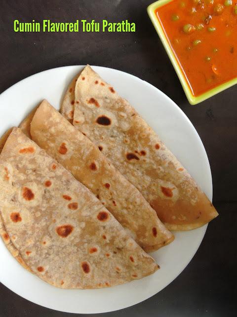 Cumin flavoured Silken tofu paratha