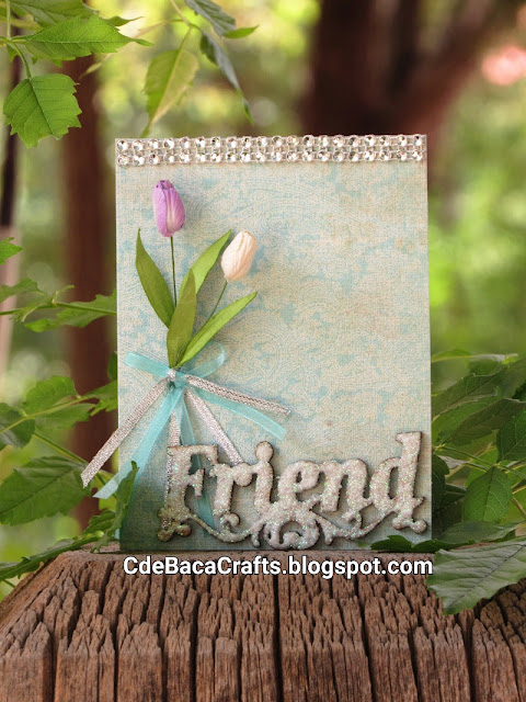 Handmade Friendship Card for Friends with Glitter by CdeBaca Crafts Blog.