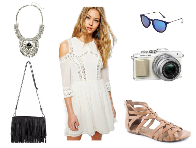 fashion-blog-uk-blog-london-blog-style-summer-wishlist-ootd-white-dress-crochet-dress-cold-shoulder-ASOS-h&m-mint-velvet-olympus-pen-epl7-jones-bootmaker-gladiator-sandal-tan-leather-camera-statement-necklace-silver-black-fringe-bag-topshop-sunglasses-blue-mirror-lens
