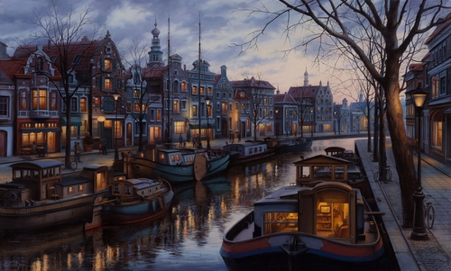 07-Canal-Life-Evgeny-Lushpin-Scenes-of-Realistic-Night-Time-Paintings-www-designstack-co