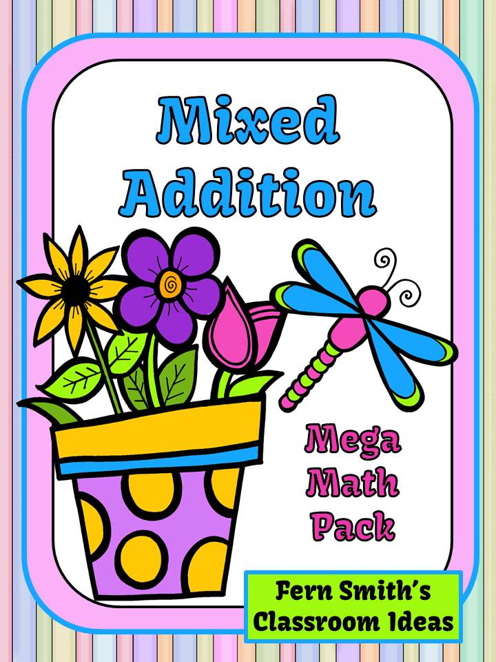 http://www.teacherspayteachers.com/Product/Mixed-Addition-Spring-Mega-Math-Pack-Printables-and-Center-Games-1159673