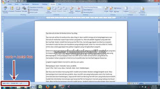 Gambar cara cepat mengetahui jumlah kata dan paragraf serta karakter pada tulisan artikel MS. WOrd