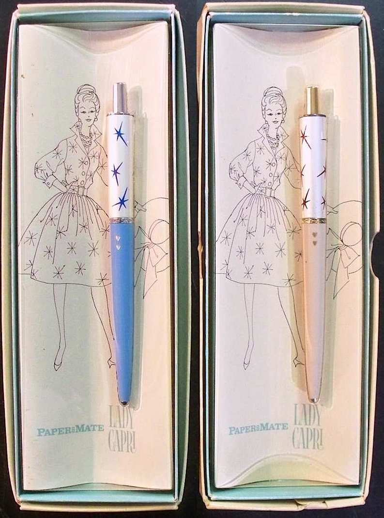 a color photograph of Papermate Lady Capri ballpoint pens for women, 1960? starbursts