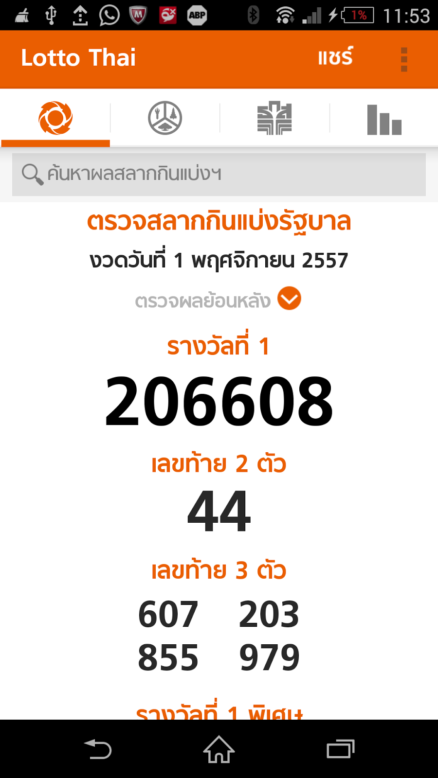 Thai Lottery Live Result 01-11-2014