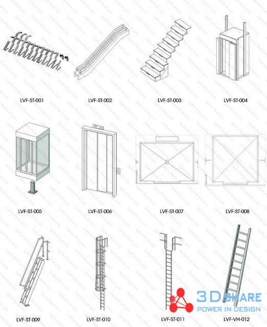 [revit][interior design] Synthetic types of ladders used in design