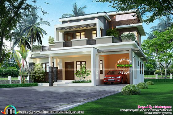 ₹52 lakhs cost estimated contemporary style house plan