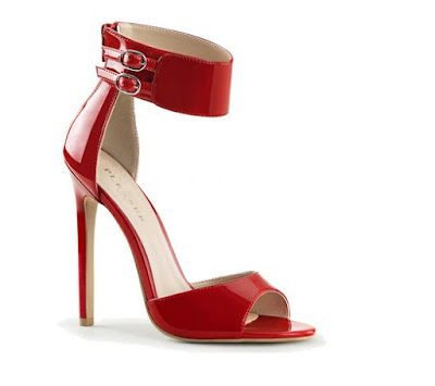Pleaser USA red high heeled ankle strap stiletto sandals