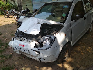Chevrolet Spark car banged head on 2
