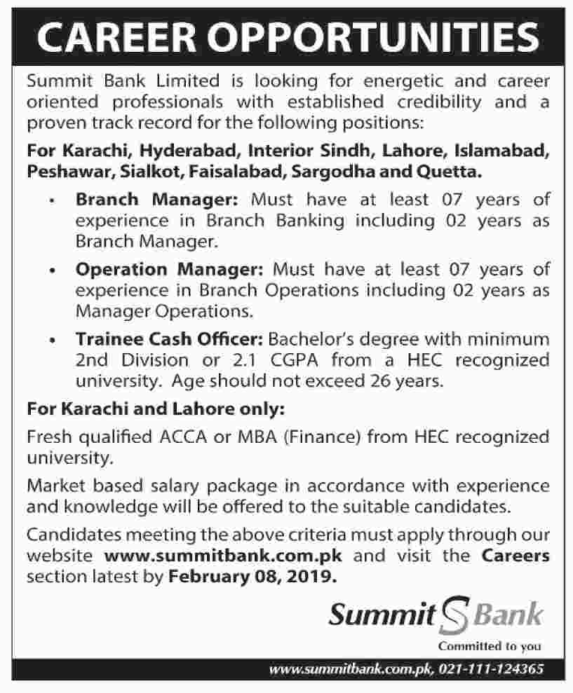 Summit Bank Limited Jobs 2019 for Trainee Cash Officers, Operation Managers & Branch Managers Latest