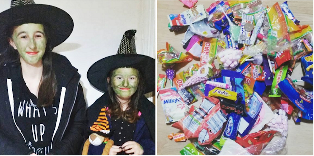 my girls dressed as witches for halloween