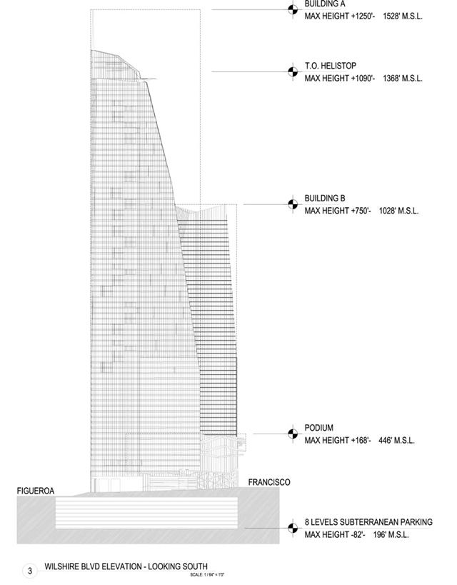 Drawings and plans of Wilshire Grand Towers by AC Martin Partners, Los Angeles, USA