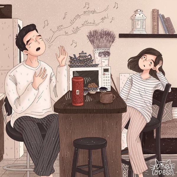 Heartwarming Illustrations Depict The Warmth Of A Couple's Life