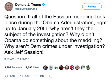 screen cap of Trump's tweet, reading: 'Question: If all of the Russian meddling took place during the Obama Administration, right up to January 20th, why aren't they the subject of the investigation? Why didn't Obama do something about the meddling? Why aren't Dem crimes under investigation? Ask Jeff Session!'