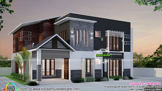 2400 sq-ft modern home at Kollam