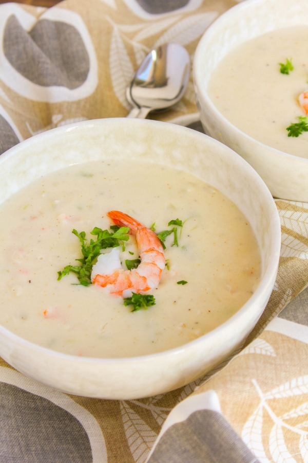 Rich, creamy, hearty and delicious, this Seafood Bisque is elegant enough for celebrations but also casual enough for a family meal. It's easy to make and can be on the table in about 30 minutes!