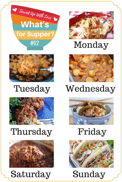 What's for Supper Sunday meal plan features Baked Pizza Tortellini, Easy One Pot Chili Mac, Crab Cakes, Green Pepper Steak, Chunky Beef & Potato Stew, and more.